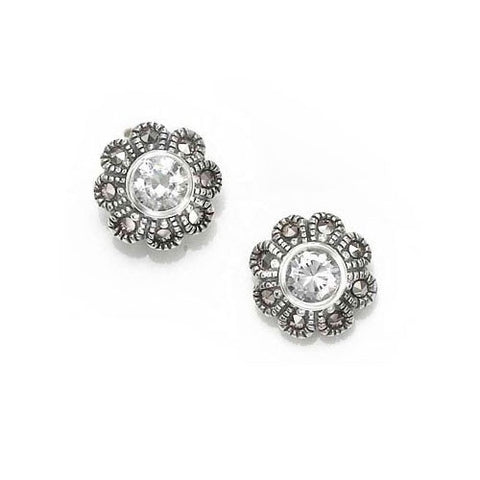 Cubic Zirconia Flower Marcasite Earrings