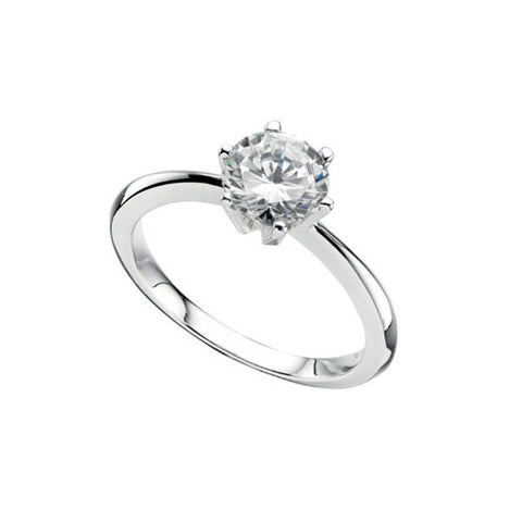 Ladies Cubic Zirconia Sterling Silver Solitaire Ring