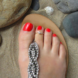 Silver Toe Ring with Cubic Zirconia Twist