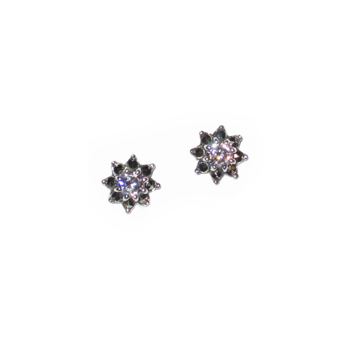 Star Flower Marcasite Earrings with Clear Cubic Zirconia