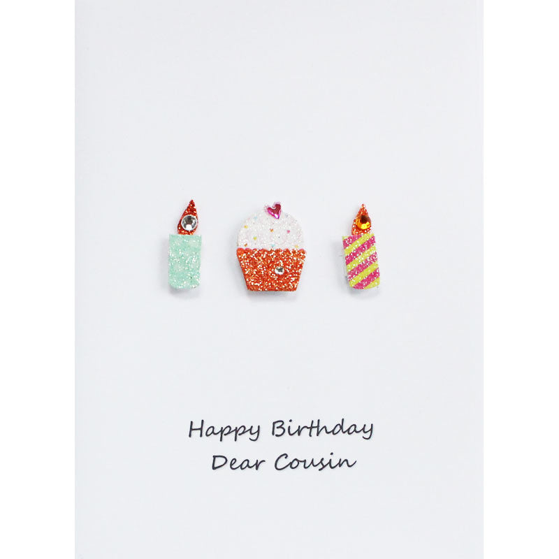Cupcakes n Candles Cousin Happy Birthday Card