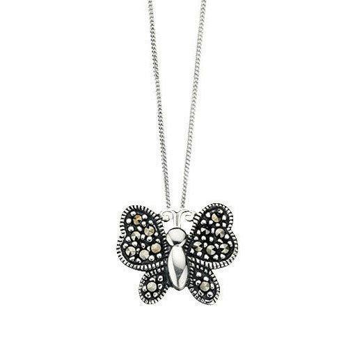 Curved Butterfly Marcasite Pendant
