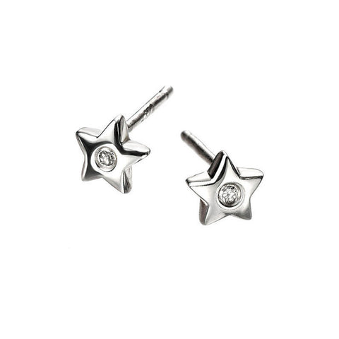Silver Star D for Diamond Earrings