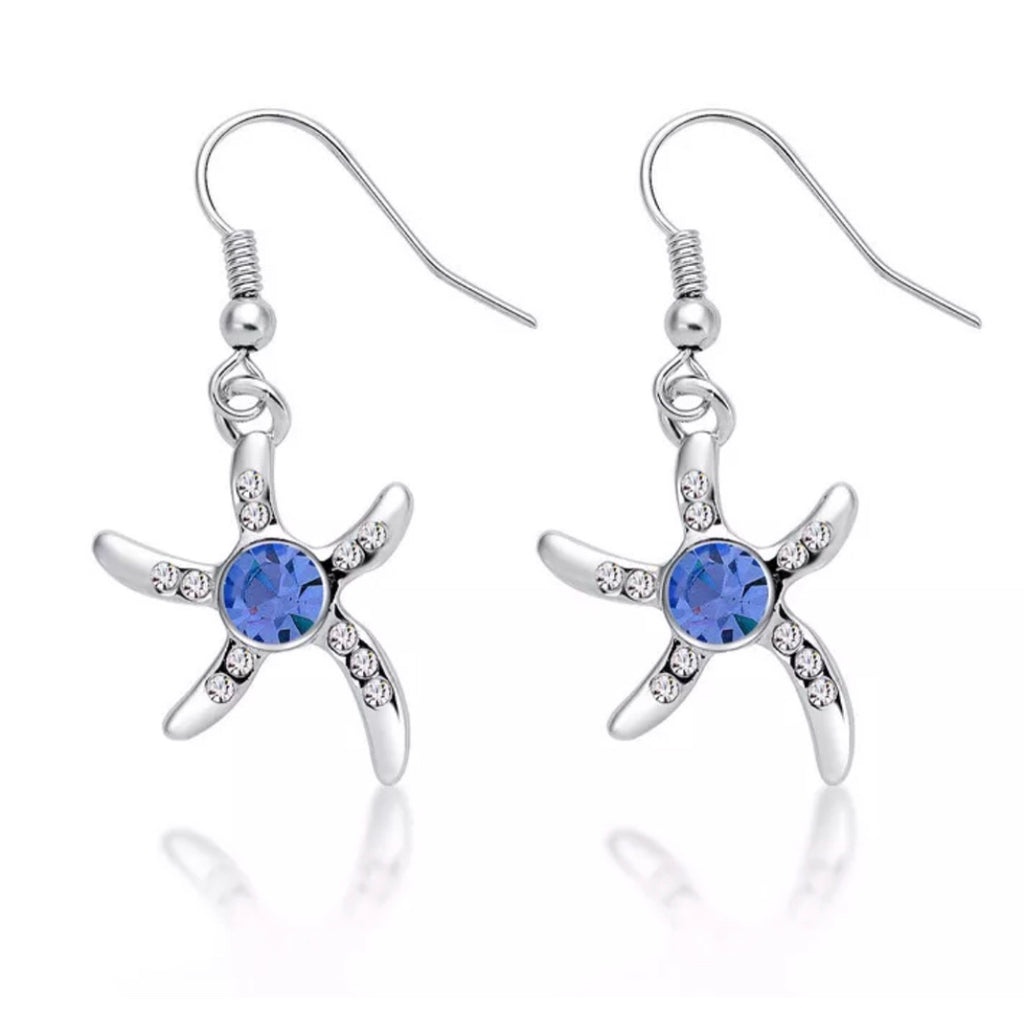 Sky blue starfish earrings