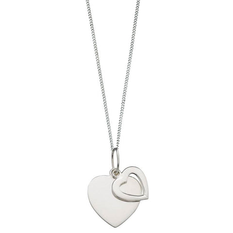 Dahlia Double Heart Sterling Silver Pendant