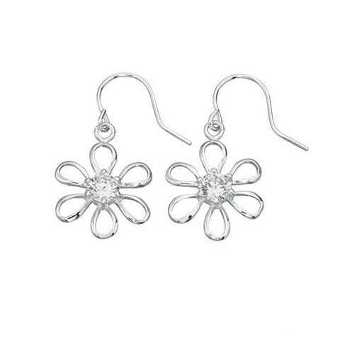 Daisy Drop Silver Earrings