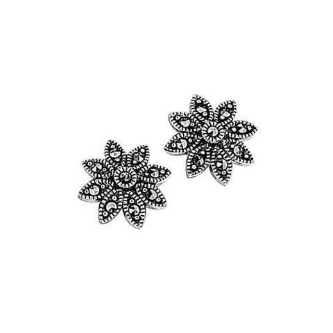 Daisy Flower Marcasite Earrings