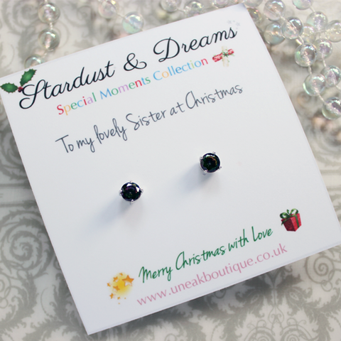 Midnight Aurora Crystal Stud Earrings