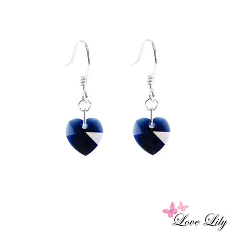 Dark Indigo Mini Crystal Heart Earrings by Love Lily