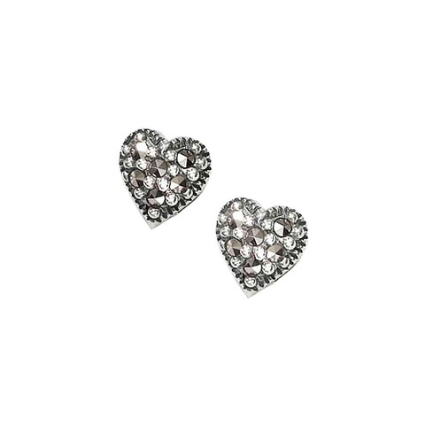 Dahlia Rounded Heart Marcasite Earrings