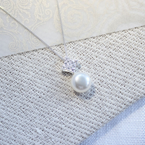 Clara Diamond Shaped Cubic Zirconia Pearl Pendant