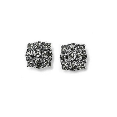 Diamond Shaped Marcasite Earrings