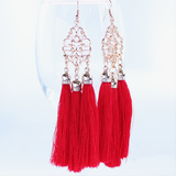 Diva Red Tassel Earrings