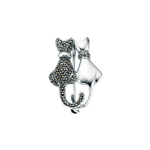 Back to Back Silver Marcasite Cat Brooch