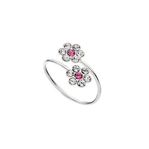 Double Pink Flower Silver Toe Ring