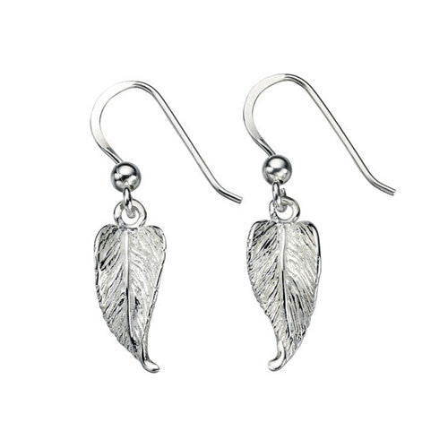 Etched Sterling Silver Leaf Earrings