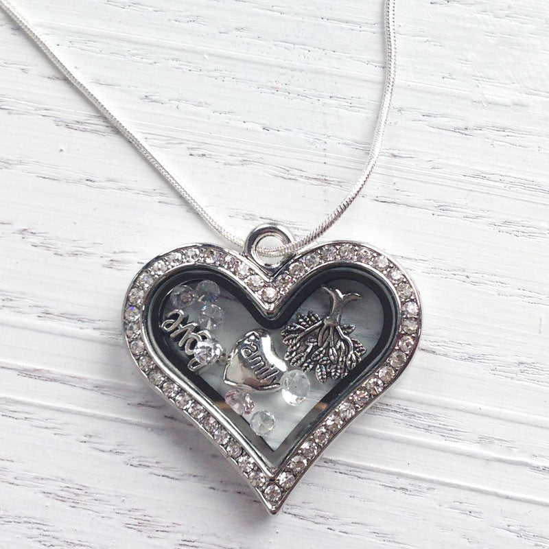 Family Love Crystal Heart Memory Locket with Floating Charms
