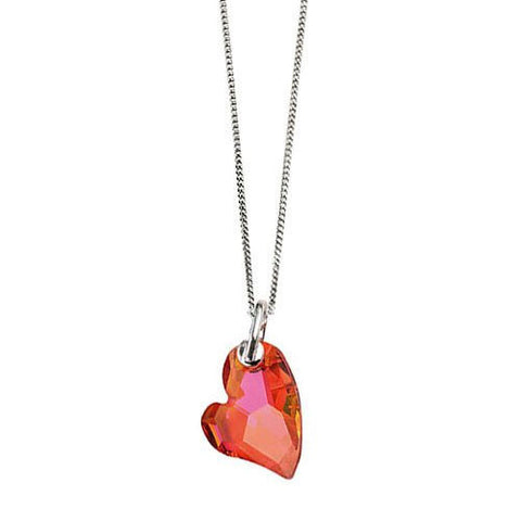 Fiery Red Crystal Heart Pendant