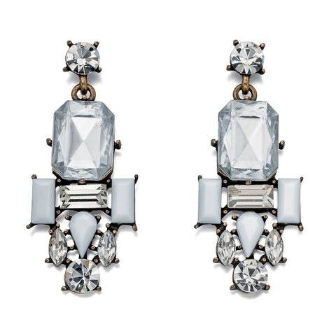 Fiorelli Earrings Antique Style Clear and White Crystal Cluster