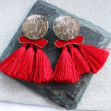 Fire and Ice Red Tassel Earrings