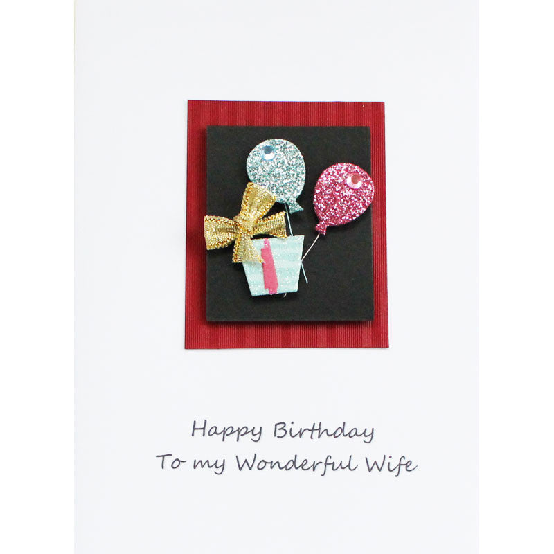 Floating Balloons Wonderful Wife Happy Birthday Card