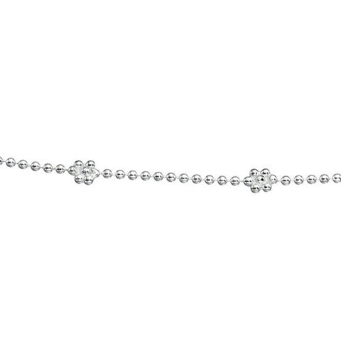 Silver Anklet with Flower and Heart Design