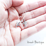 Flying Dove Bird Silver Earrings