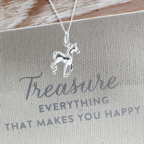 Galloping Sterling Silver Horse Pendant