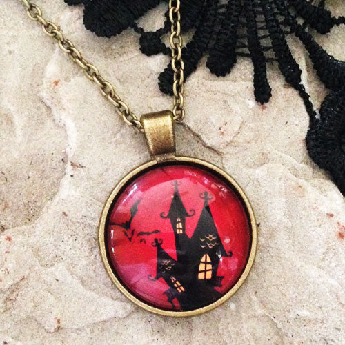 Ghost House Halloween Necklace