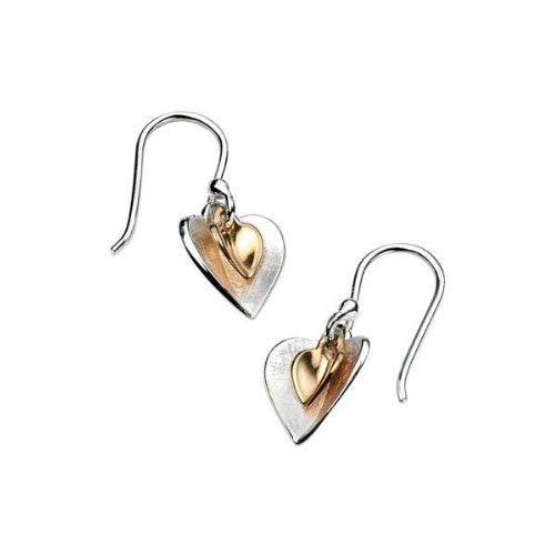 Gold Plated and Scratched Silver Heart Earrings