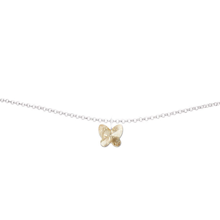 Golden Shadow Crystal Butterfly Handmade Silver Anklet by Love Lily