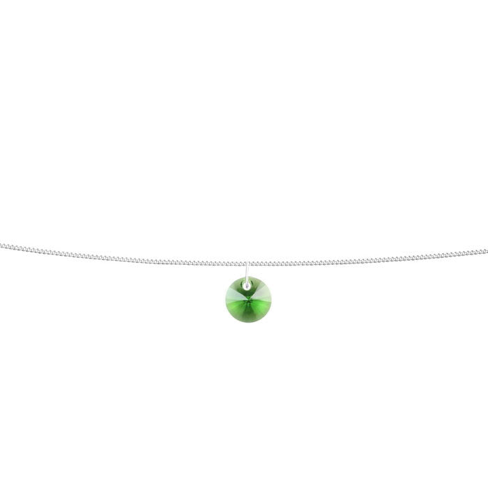 Peridot Green Crystal Xilion Sterling Silver Anklet