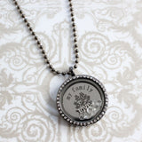 Gun Metal Family Memory Locket with Cubic Zirconia
