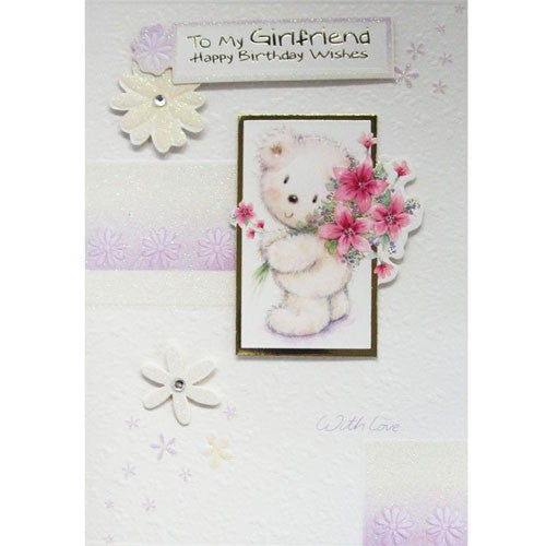 Bear With Flowers Girlfriend Birthday Card
