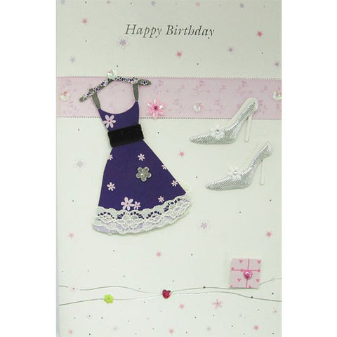 Purple Dress and Shoes Happy Birthday Card