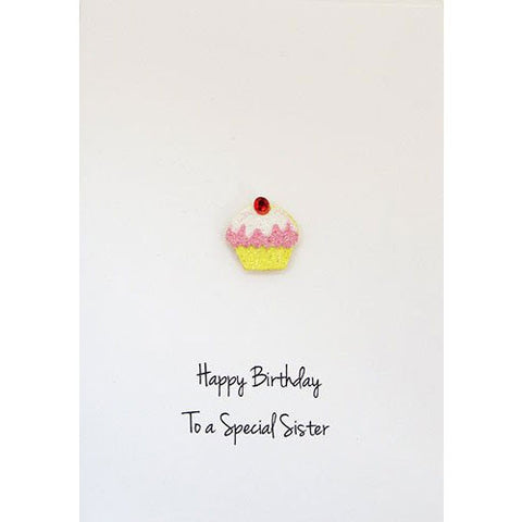 Cup Cake Happy Birthday Sister Handmade Card