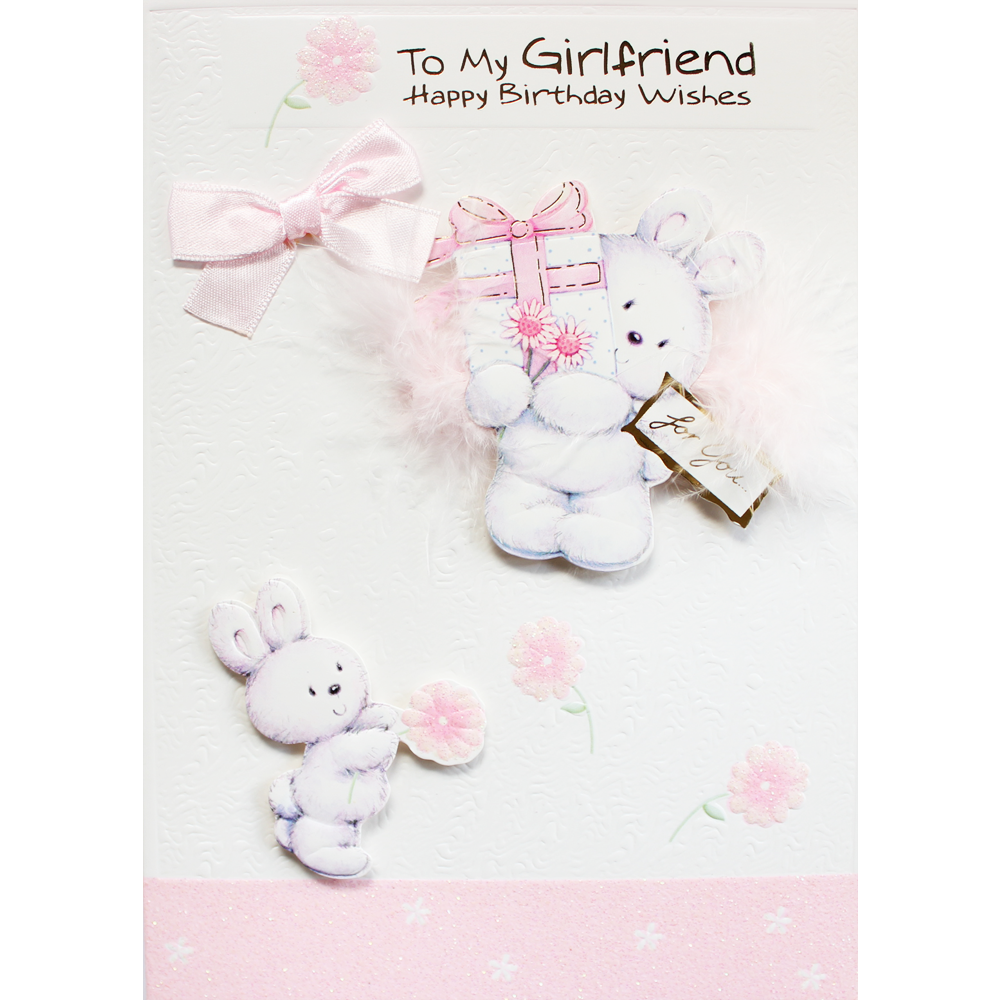 Pink Rabbit With Flowers Girlfriend Birthday Card