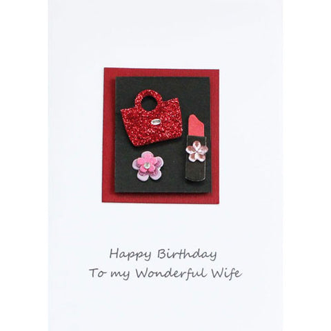 Lipstick and Handbag Wife Happy Birthday Card