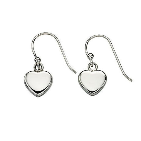 Single Heart Drop Silver Earrings
