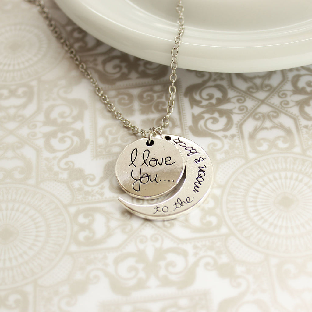 I Love You To The Moon and Back Silver Plated Pendant