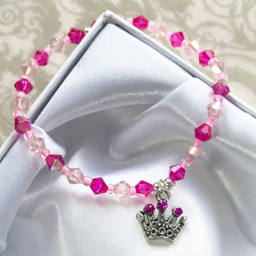 If the Crown Fits Girls Princess Crystal Bracelet