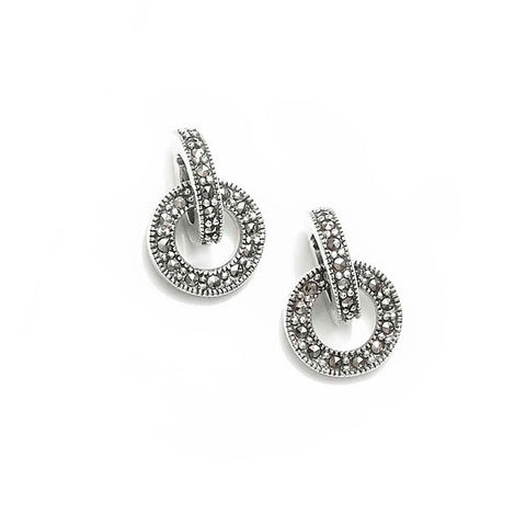 Interlinked Circles Marcasite Earrings