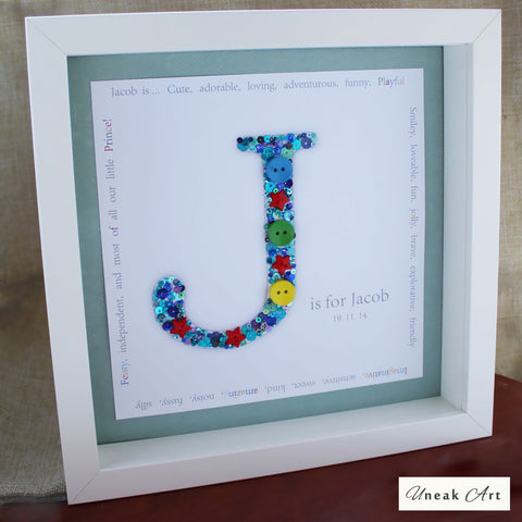 Personalised Boys Button Box Artwork Picture