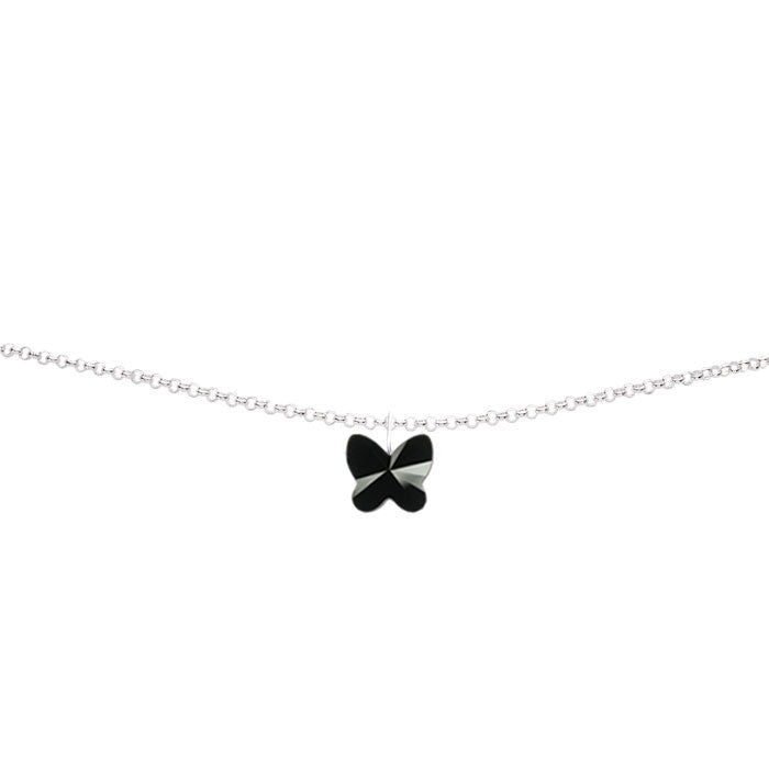 Jet Crystal Butterfly Handmade Silver Anklet by Love Lily