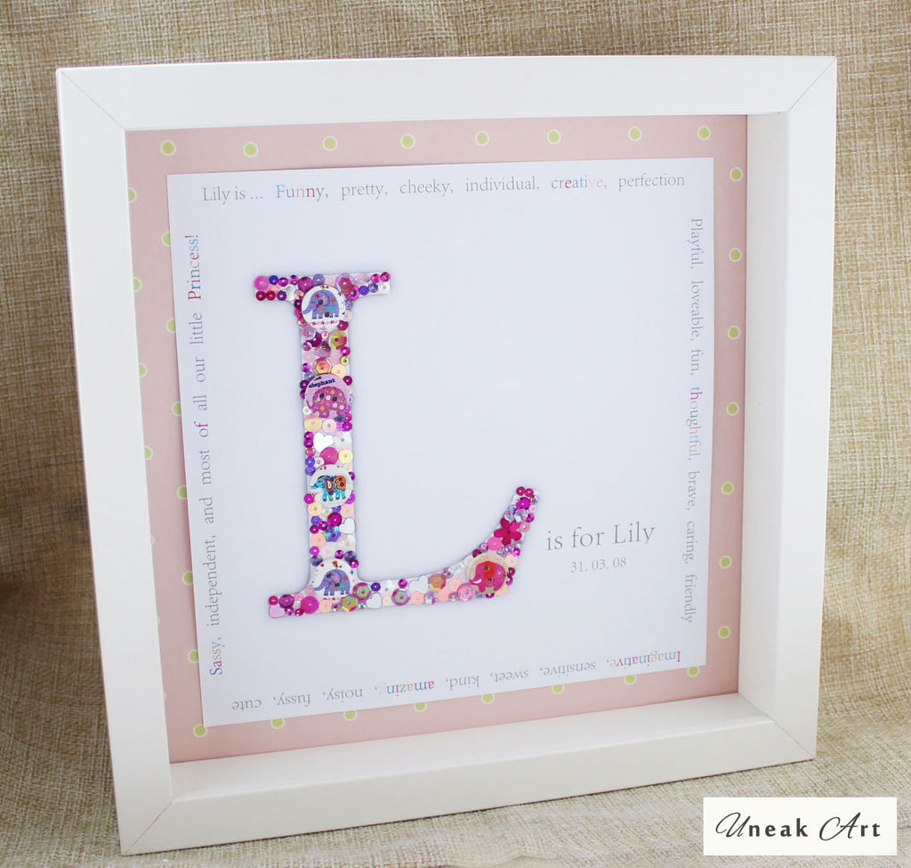 Personalised Girls Button Box Artwork Picture