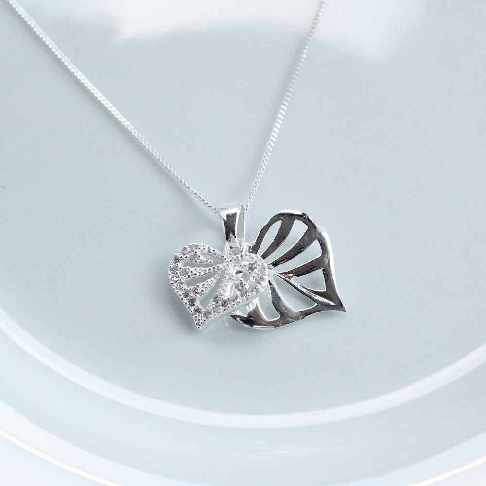 Crystal Nights Double Heart Silver Pendant
