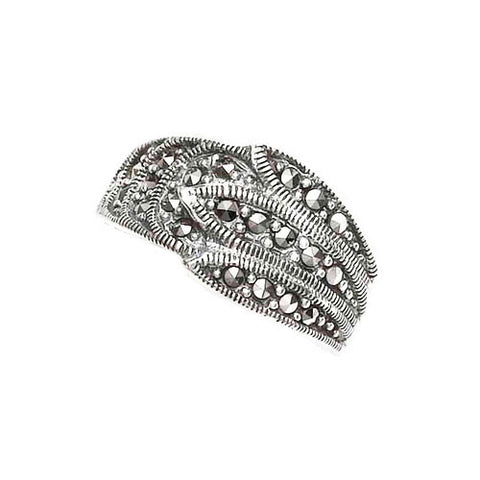 Leaf Design Marcasite Ring in Sterling Silver