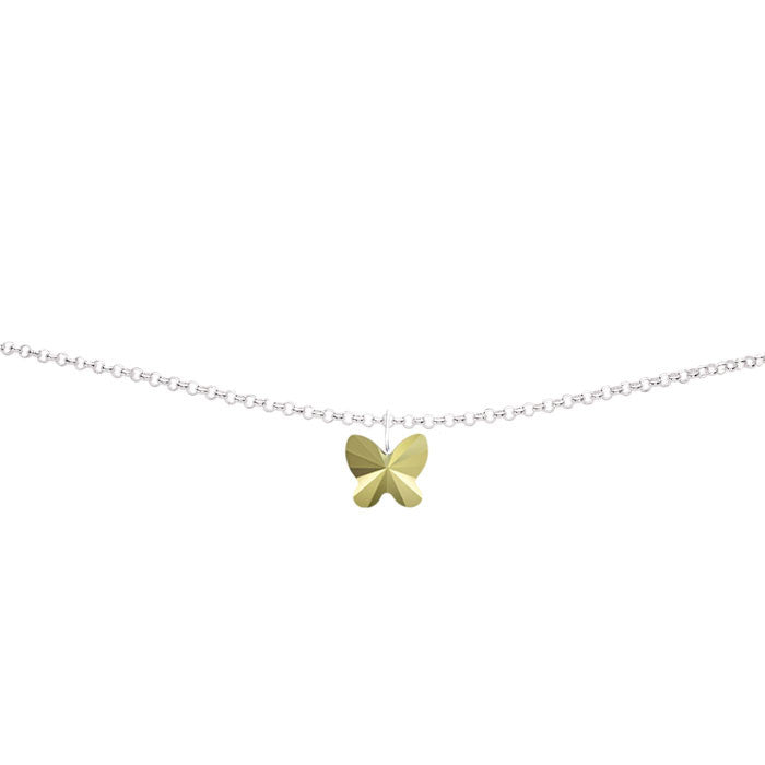 Light Gold Metallic Crystal Butterfly Silver Anklet by Love Lily