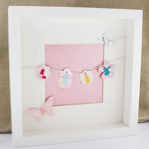 Personalised Whimsical Washing Line Box Frame Picture