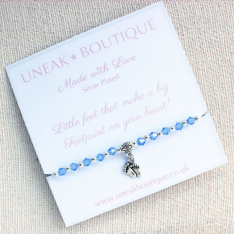 Little Footprints Blue Crystal Handmade Bracelet